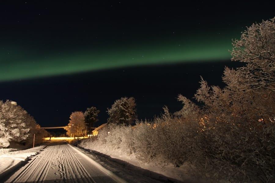 Northern lights and snow